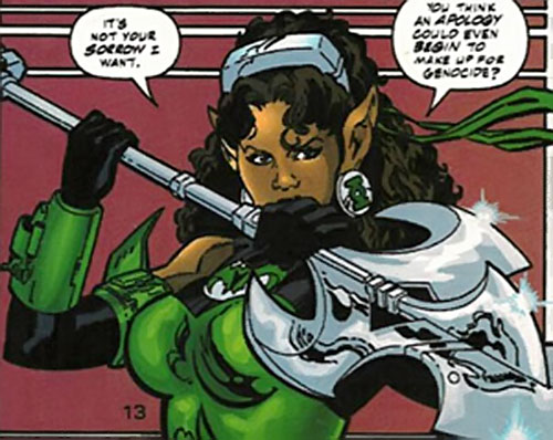 Fatality (Green Lantern enemy) (DC Comics) with her spear raised