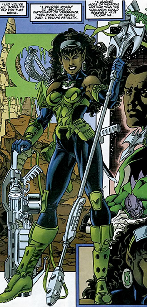 Fatality (Green Lantern enemy) (DC Comics) with weapons