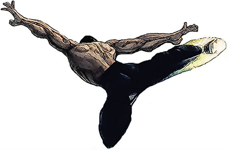 Fei Long (Street Fighters) delivers a flying kick