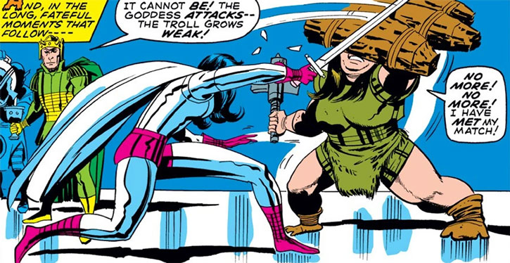 Female troll mercenary vs. Sif of Asgard