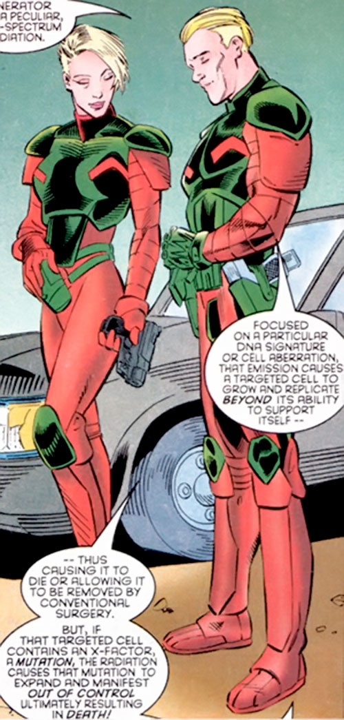 Fenris (Andrea and Andreas Strucker) in red and green armor