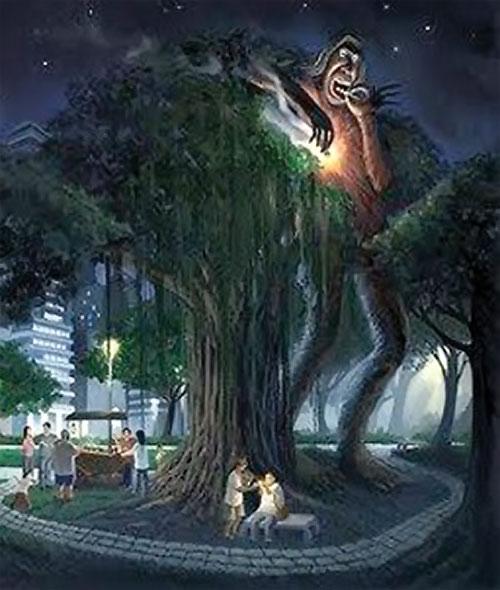 Kapre giant (Filipino legends) on a city plaza