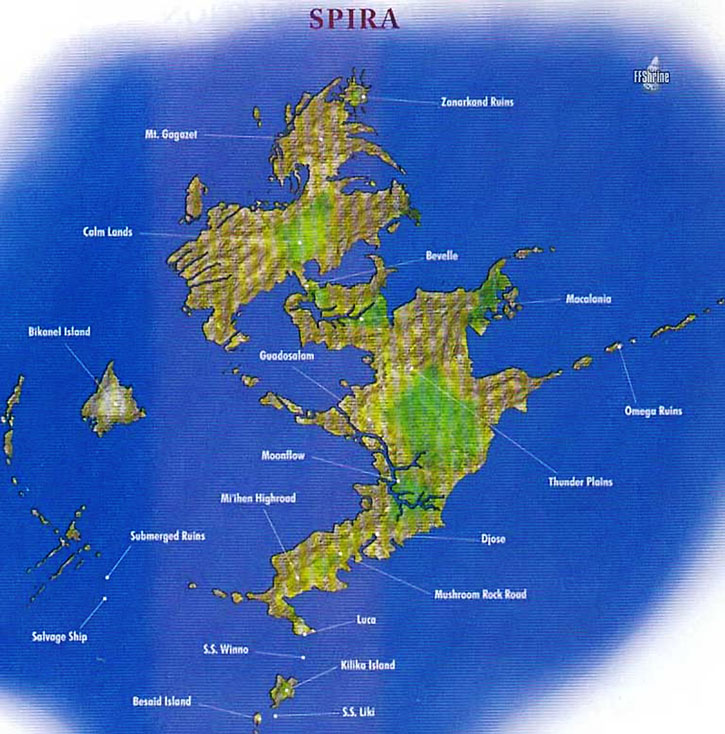 Map of Spira in Final Fantasy