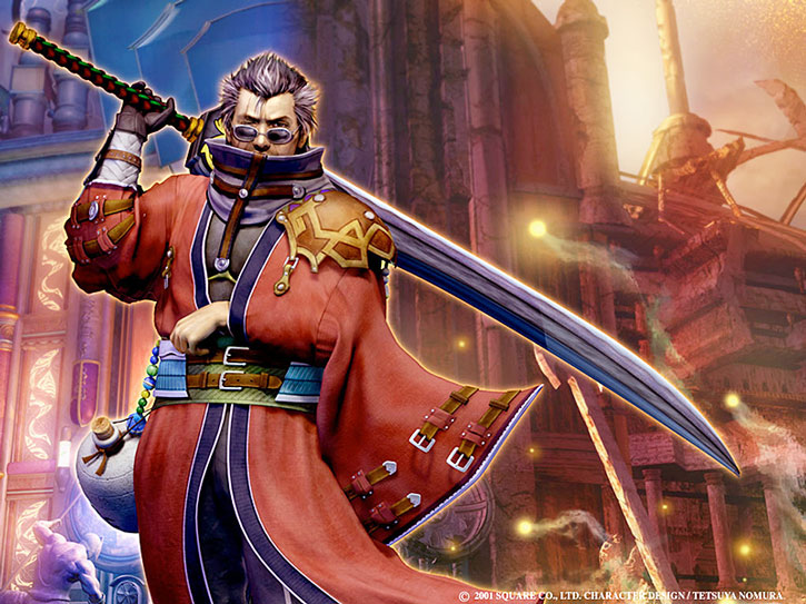 Auron stands before a city wall