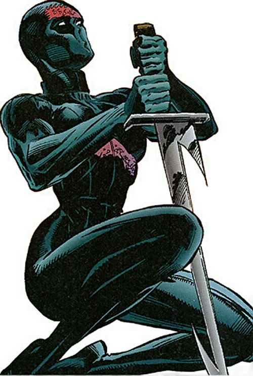 Finale of the Sovereign 7 (DC Comics) kneeling with her blade