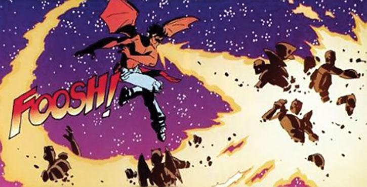 Firebreather vs. flying stone humanoids