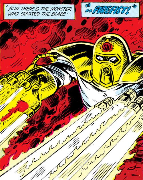 Firefist (Blue Beetle enemy) (DC Comics) shooting flames