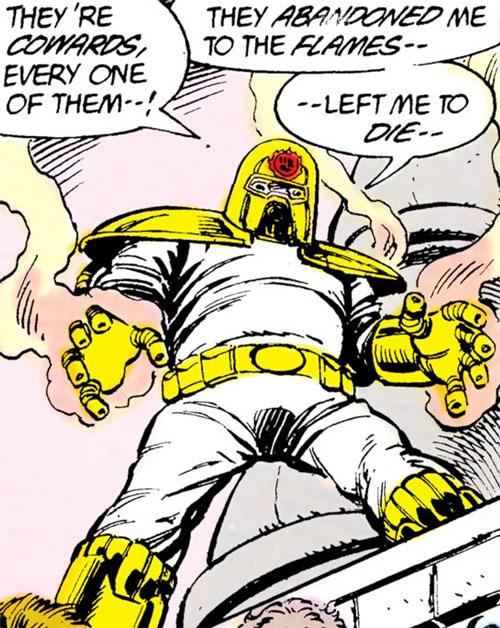 Firefist (Blue Beetle enemy) (DC Comics) low angle shot