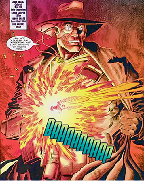 Firefox (Marvel Comics) with a trench coat and hat