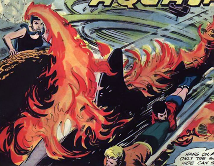 Fire-haired Karla vs. Aquaman and Aqualad