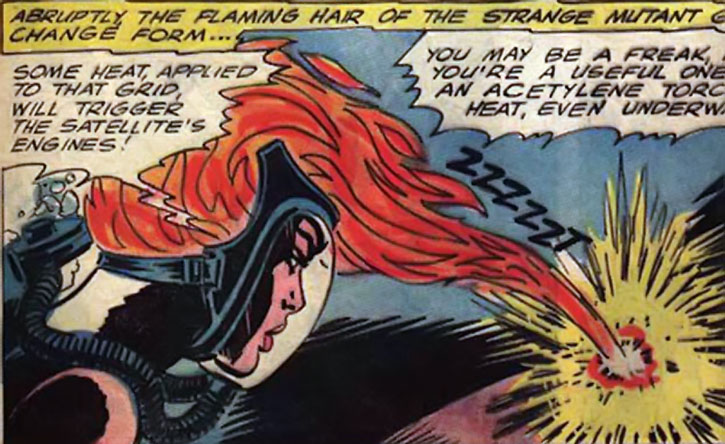 Fire-haired Karla uses her hair as a cutting torch