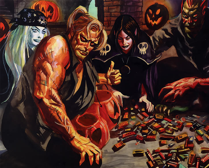 Firelion (Brereton Nocturnals painted comics) candy haul with Halloween Girl