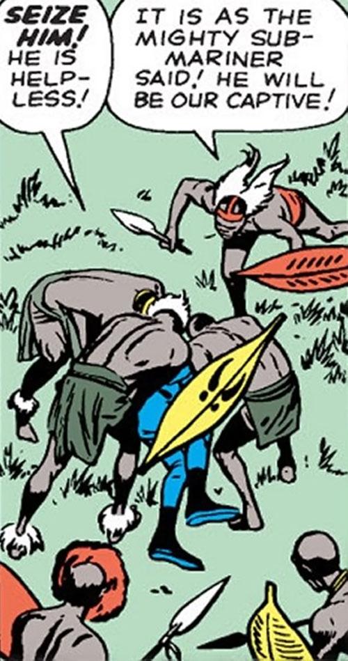 The fireproof tribal warriors capture the Human Torch (Marvel Comics)