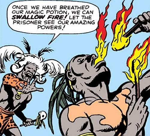 The fireproof tribal warriors breathe fire (Marvel Comics)