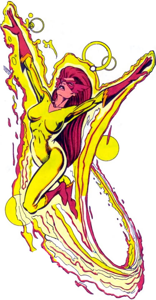 Firestar (Marvel Comics) (Avengers ; New Warriors) flying on fire