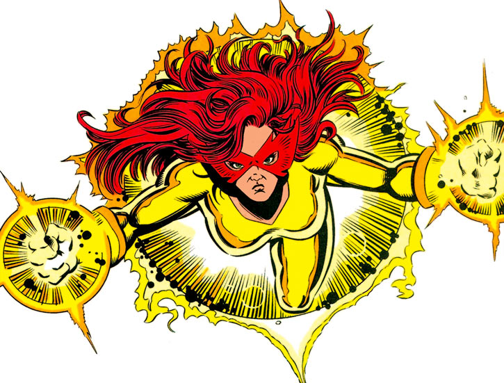 Firestar (Marvel Comics) (Avengers ; New Warriors) flying in tough