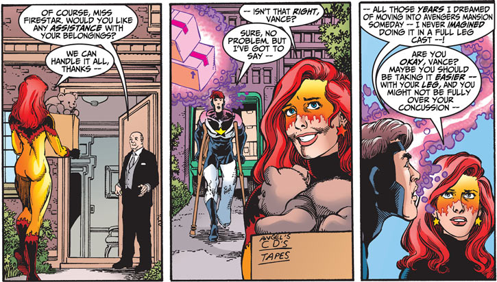 Firestar (Marvel Comics) (Avengers ; New Warriors) and Justice moving in Avengers' Mansion
