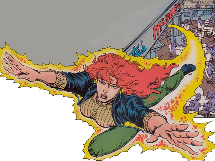 Firestar (Marvel Comics) (Avengers ; New Warriors) flying in her civvies