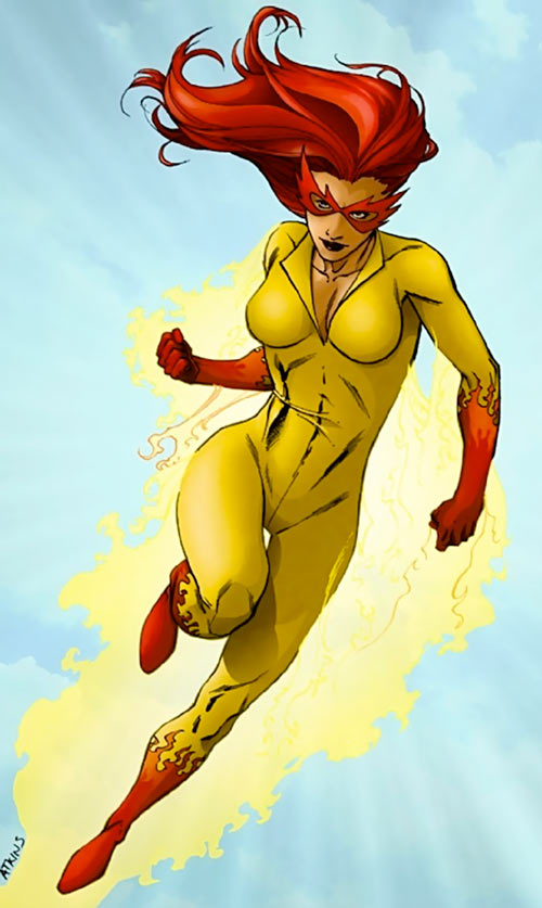 Firestar (Marvel Comics) (Avengers ; New Warriors) in the sky by Atkins