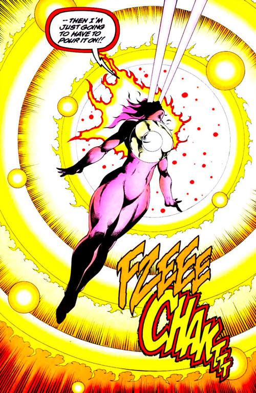 Firestar (Marvel Comics) (Avengers ; New Warriors) radiating low angle shot