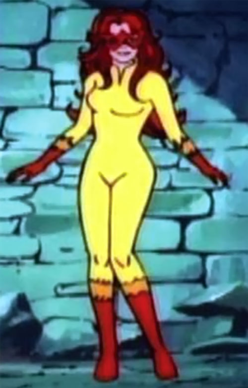 Firestar (Spider-Man Amazing Friends) next to a blue stone wall