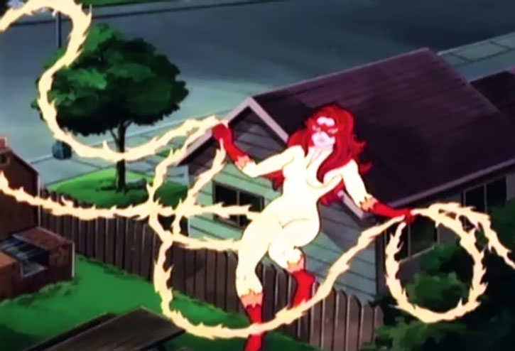 Firestar using a fire lasso