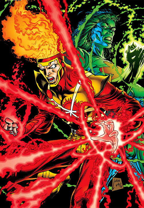 Firestorm of Extreme Justice (DC Comics) with Captain Atom