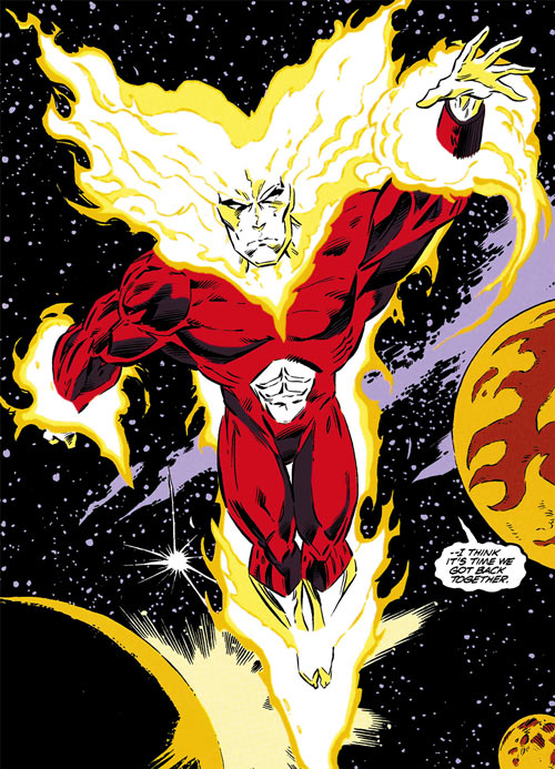 Firestorm as an universal fire elemental (DC Comics) flying in space