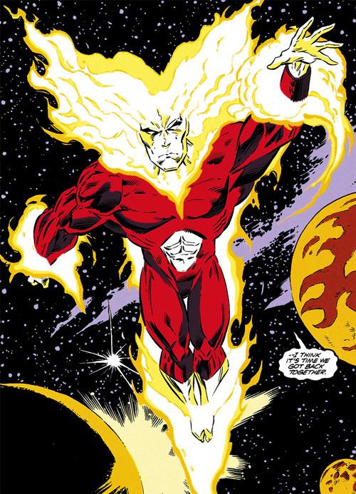 Firestorm as an universal fire elemental (DC Comics) flying in space