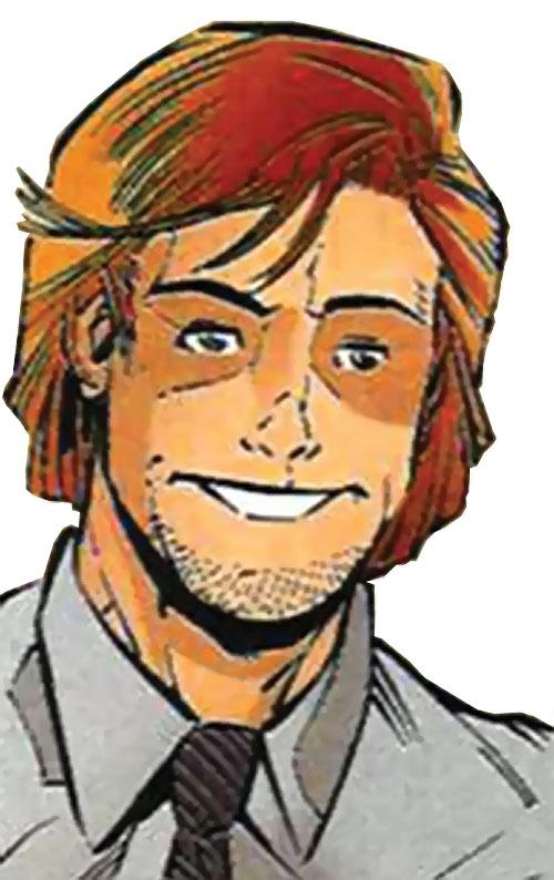 Firestrike (New Warriors enemy) (Marvel Comics) face closeup