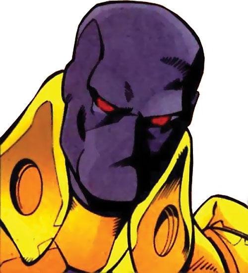 Firestrike (New Warriors enemy) (Marvel Comics) mask closeup