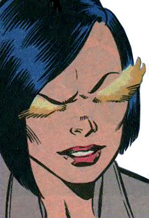 Firewall aka Silk Fever of the Folding Circle (New Warriors enemy) (Marvel Comics) face closeup