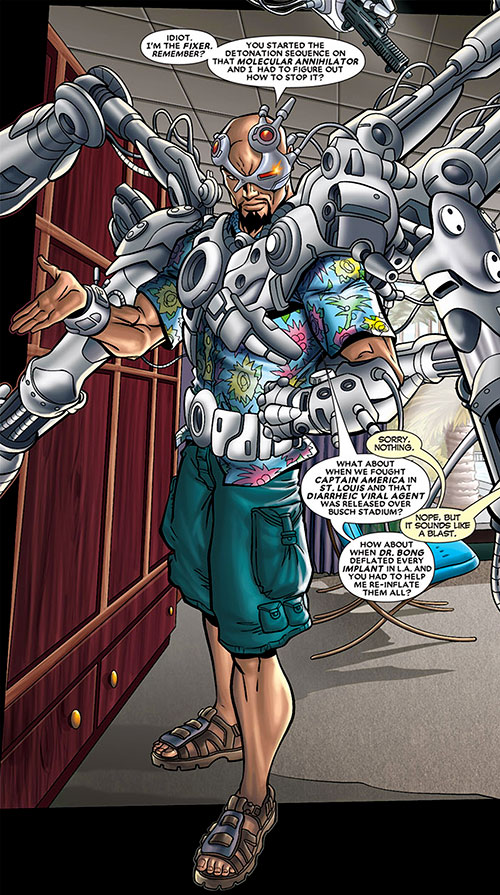 Fixer of the Thunderbolts (Marvel Comics) with his harness and a Hawaiian shirt