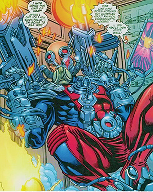 Fixer of the Thunderbolts (Marvel Comics) with shoulder-mounted machineguns
