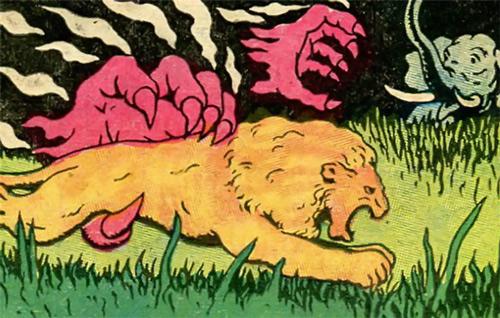 Flaming Claws (Fantomah monster) (Fletcher comics) killing African animals