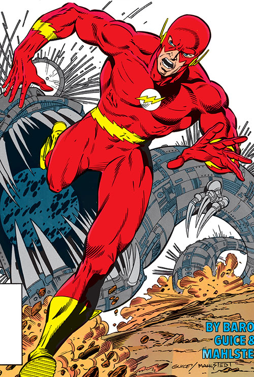 Flash (Wally West) (DC Comics) outrunning an alien machine