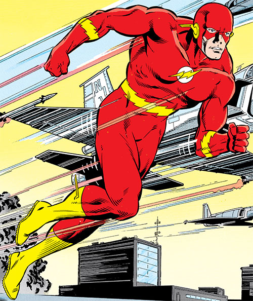 Flash (Wally West) (DC Comics) running with jets