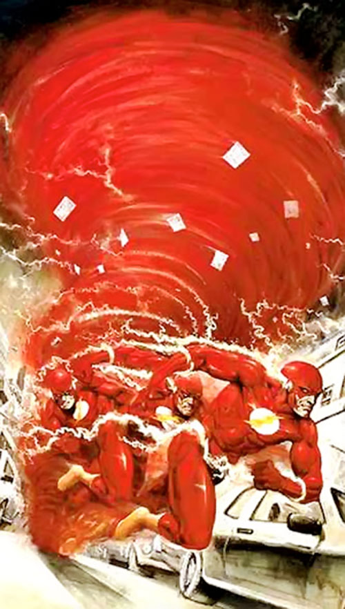 Flash (Wally West) (DC Comics) creating a vortex