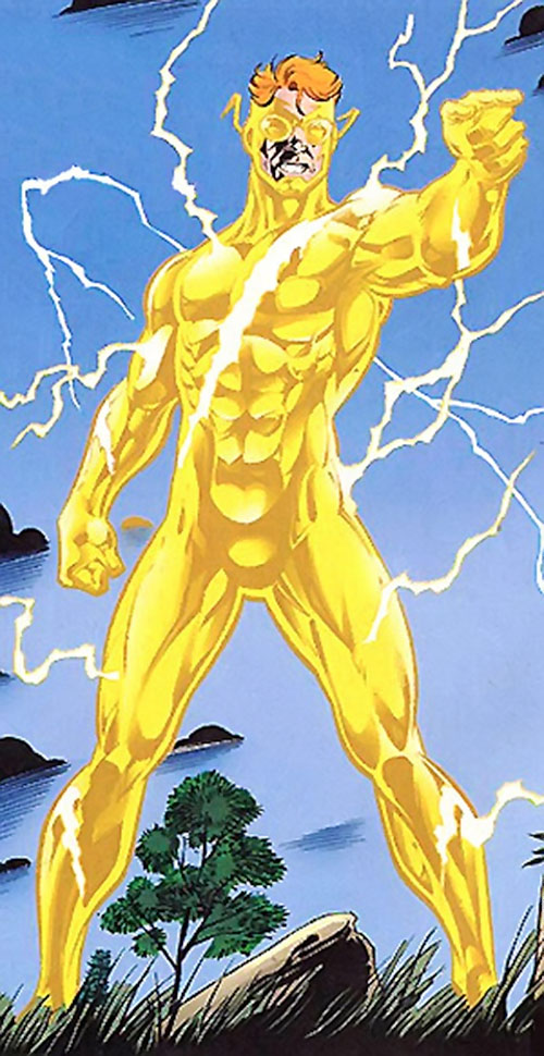 Flash (Wally West) (DC Comics) with the yellow speed force costume