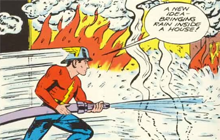 The Flash (Jay Garrick) extinguishes a fire