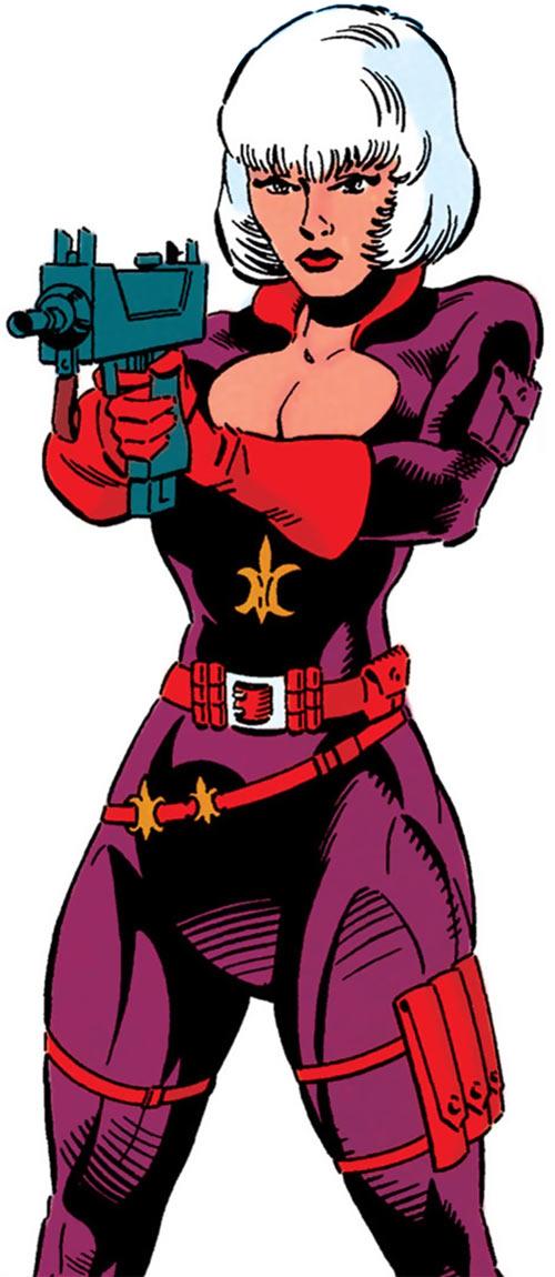 Fleur-de-Lys (DC Comics) aiming a machine pistol
