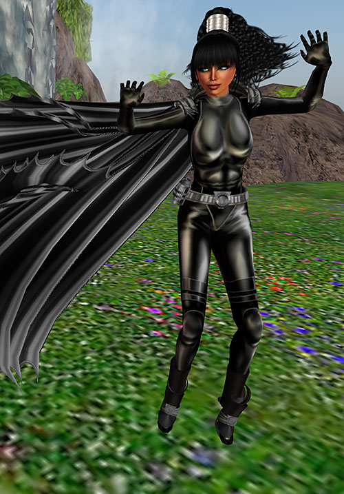 Flicker (DC Heroes RPG) black leather wind cape floating