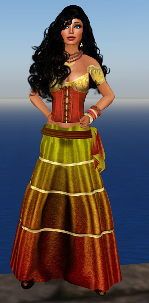 Flicker (DC Heroes RPG) gold and red skirt ensemble