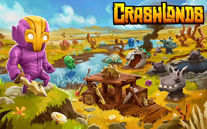 Crashlands video game - Flux Dabes - scenery poster savannah