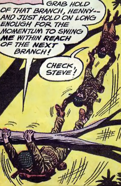 Flying Boots (War that Time Forgot DC Comics) swinging from branch to branch as a human stack