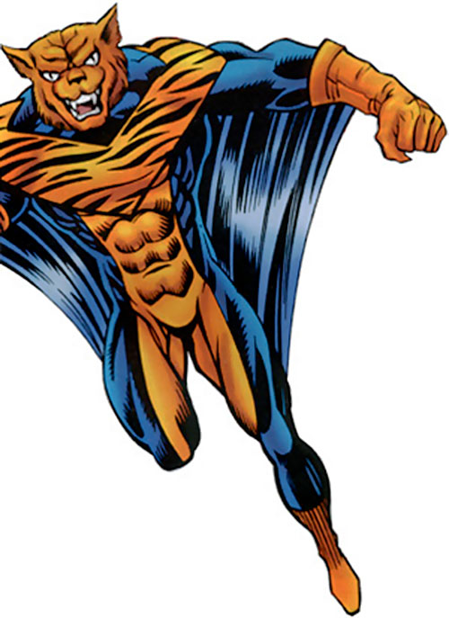 The Flying Tiger with the blue and orange suit