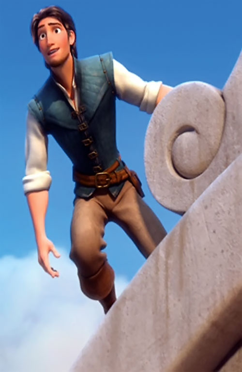 Flynn Rider (Disney's Tangled) on a rooftop