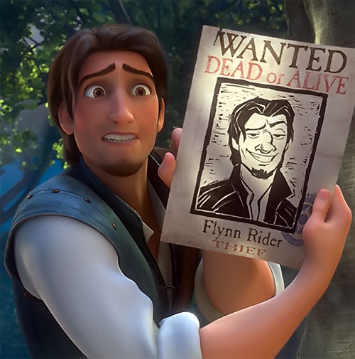 Flynn Rider (Disney's Tangled) and a Wanted poster