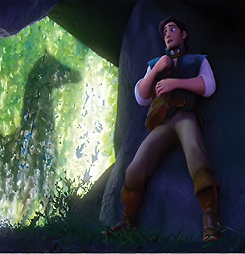 Flynn Rider (Disney's Tangled) hiding in a cave