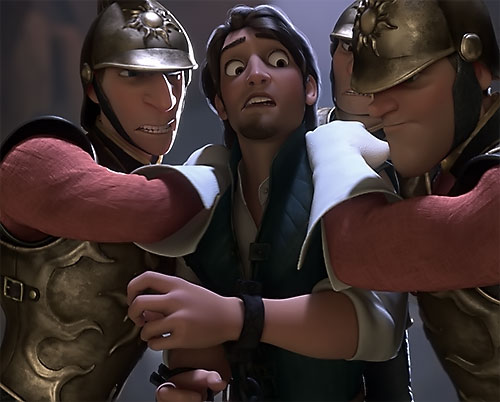 Flynn Rider (Disney's Tangled) held by guards